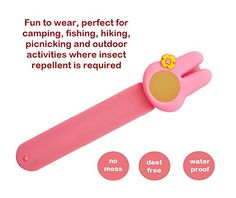 Essencell Cartoon Natural Mosquito Repellent Slap Bracelet + 2x Repellent Refills - [No Spray, Deet-free, Waterproof] Best Pest Control Repellent Products for Kids -Pink Rabbit