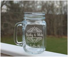 wedding mason jars,  personalized mason jar Etched mason jars, wedding jars,  by StoneEffectsMD