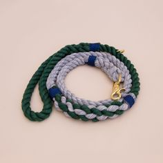 Rope dog handmade leash - pet supplies - dog leash - Soft cotton rope leash -Gray & green Hand made cotton rope leash - The rope ends are spliced then whipped with Lasso's original knots for durability.