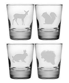 Eastern Wildlife Double Old-Fashioned Glass Set by Susquehanna Glass