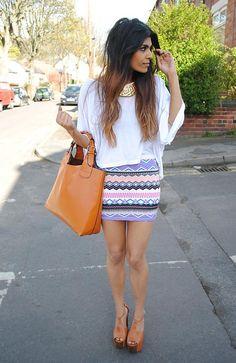 patterned tight skirt, oversized tee
