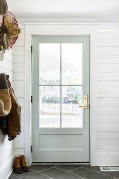 Front door ideas and design to add curb appeal for new house, renovation, new build, or remodel: Benjamin Moore Gray Owl door with brass door entry set Back Doors, The Doors, Windows And Doors, Sliding Doors, Inside Doors, Style At Home, Home Interior, Interior Design, Simple Interior