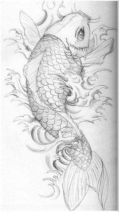 Koy Fish Drawing, Fish Drawings, Ink Pen Drawings, Art Drawings Sketches, Tattoo Drawings, Art Sketches, Pez Koi Tattoo, Coy Fish Tattoos, Koi Tattoo Design