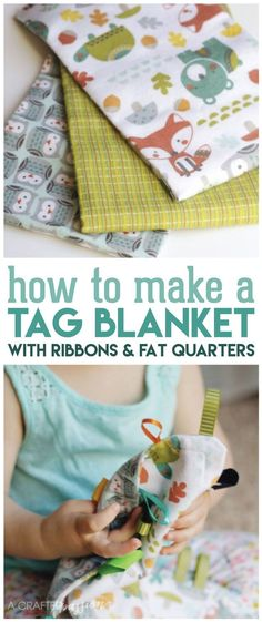 Sewing Projects For Baby How to make a Tag Blanket in less than 15 minutes with this easy tutorial. It's a perfect DIY baby shower gift! - Learn how to make a tag blanket in less than 15 minutes. It's a perfect DIY baby shower gift or gift for a new mom! Baby Sewing Projects, Diy And Crafts Sewing, Sewing Ideas, Sewing Patterns, Sewing Hacks, Sewing Tips, Kids Crafts, Fabric Crafts, Diy Projects