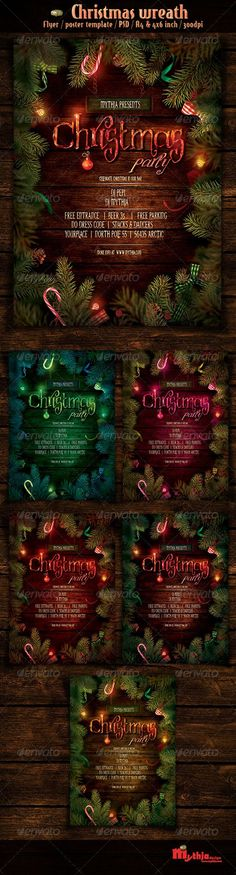 Christmas Wreath - Event Flyer/Poster Template #GraphicRiver Christmas wreath – Event Flyer/Poster Template. Xmas border card with with copyspace on wooden background. Christmas ornaments on wood with candy and ribbons. Package contents 2 Psd Files help file with font info CMYK color mode / 300dpi Specifications Print Ready A4 Size / 21×29,7 cm + bleed 4×6 inch Size + bleed Organized and named Layers main color + 5 Color