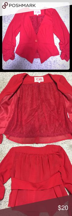 GB Gianni Bini red blazer Precious red Gianni Bini blazer. Lace inside. Semi sheer back where lace inside shows. 3/4 length sleeve. Faux pockets. One button. Worn once. Excellent condition. Gianni Bini Jackets & Coats Blazers