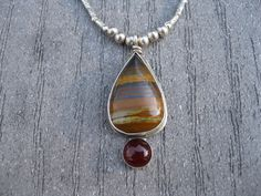 Banded Jasper and Carnelian One-of-a-kind Sterling Silver and Stone Artisan Handcrafted Pendant Necklace. $135.00, via Etsy.