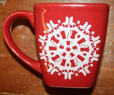 """Starbucks 2004 Red Snowflake Coffee Mug Cup Square Style Heavy 4x5.5"""" Excellent"""