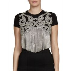 Balmain Embellished Fringe Tee ($1,605) ❤ liked on Polyvore featuring tops, t-shirts, apparel & accessories, cotton pullover, beaded fringe t shirt, short sleeve t shirts, cotton t shirts and embellished t shirts