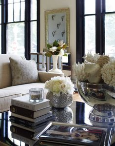 York House - Elegant living room with Amelie Mirrored Cocktail table, mercury glass ...
