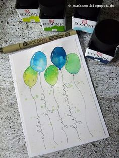 Minkamo's Creative Space: Persönliche Kaffeetassen ~ Individual coffee mugs {DI. - Minkamo's Creative Space: Persönliche Kaffeetassen ~ Individual coffee mugs DIY{ Estás en el lug - Karten Diy, Happy Paintings, Watercolor Cards, Watercolor Lettering, Diy Cards, Paper Crafting, Handicraft, Fun Crafts, Crochet Pattern