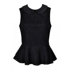 PEPLUM TOP WITH PEARL COLLAR ($25) ❤ liked on Polyvore