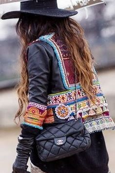 embellished leather jacket + wide brim + chanel