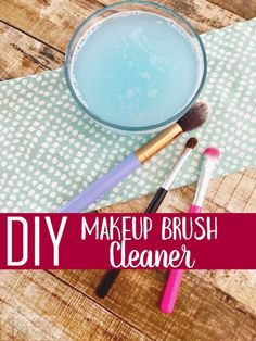 Looking for easy ways to clean makeup brushes naturally? You'll love this DIY Makeup Brush Cleaner! Only 3 ingredients to sanitize and clean your brushes!