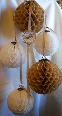 Honeycomb balls made from coffee filters