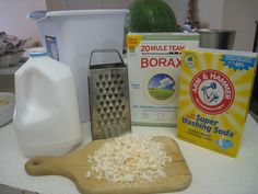 Homemade Liquid Laundry Detergent 2 gallons + 1 quart Boiling Water 1 bar castile soap (or Ivory), grated 2 cups Borax 2 cups Armor Hammer Washing Soda 3 gallon bucket/garbage pail Empty jugs to store the detergent Funnel Mixing Spoon Cheese Grater Homemade Cleaning Products, House Cleaning Tips, Natural Cleaning Products, Deep Cleaning, Cleaning Hacks, Cleaning Routines, Diy Cleaners, Cleaners Homemade, Frugal