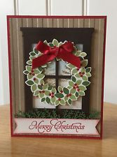Christmas card kit - Window and wreath - made with stampin up product