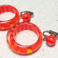 Vintage Orange Striped Lucite Hoop Earrings (retro 60s 70s dangling clip bright…