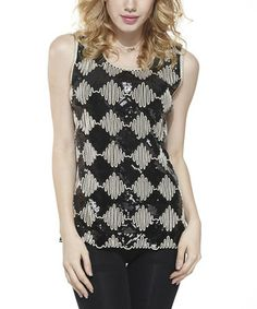Another great find on #zulily! Black & Beige Checkerboard Embellished Sleeveless Top - Women #zulilyfinds