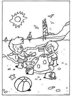 Summer Coloring Pages, Colouring Pages, Coloring Books, Summer Activities For Kids, Summer Kids, Tybee Island Beach, Summer Clipart, Beach Color, Printable Crafts