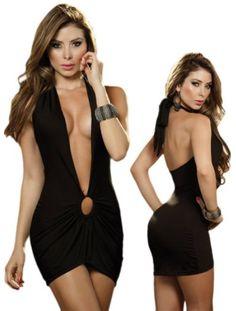 Sexy Black Deep V-Neck Halter Mini Dress
