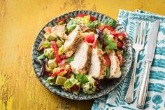 Velvety avocado creates a delicious (and healthy!) base for this creamy dressing. Spiced chicken is paired with slightly charred peppers and onions to take this chopped chicken salad to the next level.