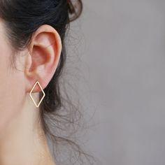 Geometric studs  Rhombus earring  18k Gold plated by sigalitaJD