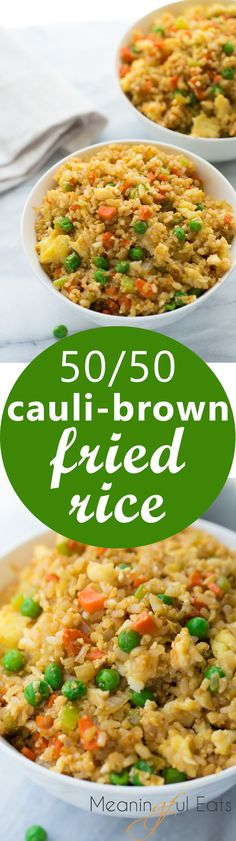 50/50 Cauli-Brown Rice Fried Rice! An easy fried rice made of 1/2 cooked brown rice and 1/2 cauliflower rice. One of my go-to healthy dinners! Easy,…