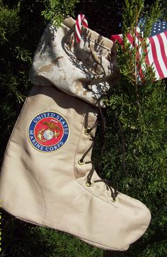 US Marine Corps Christmas Stocking by ThePaintedThimble on Etsy, $29.99