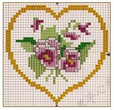 cross stitch heart with pansies Small Cross Stitch, Cross Stitch Heart, Cross Stitch Cards, Beaded Cross Stitch, Cross Stitch Flowers, Cross Stitching, Wedding Cross Stitch Patterns, Cross Stitch Designs, Blackwork Embroidery