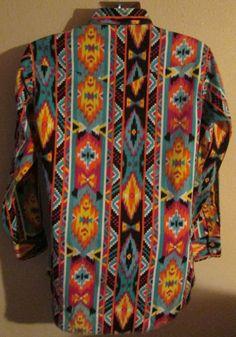 968fb6fbeaa Mens 80 s Wrangler Cowboy Cut Western Shirt Size Medium M Southwest Navajo  Aztec
