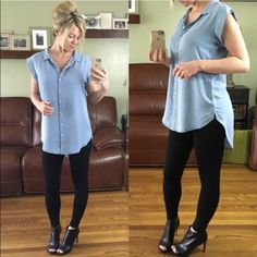 ▪️Cap Sleeve Silky-Soft Denim Button-Down Brand New, Tags Attached. Size Small, Medium, Large, and XL available. Modeling Small. Very very soft and stretchy. Has a beautiful delicate feel. The material is very nice, easily dressed up. Price Firm.   100% Lyocell Tops Button Down Shirts