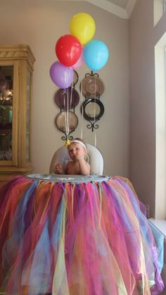 Rainbow high chair tutu