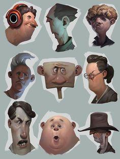 heads, Roman Semenenko on ArtStation at https://www.artstation.com/artwork/Xz0Oy