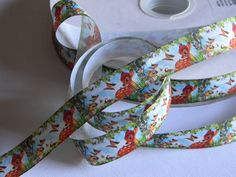 """Bambi Grosgrain Ribbon 5 yards of 1"""" Bambi and Thumper Ribbon with Butterflies Fawn Deer and Rabbit Disney Birthday Party Blue Green Brown by HouseofHairDecor on Etsy"""