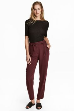Trousers with a tie belt - Burgundy - | H&M 1
