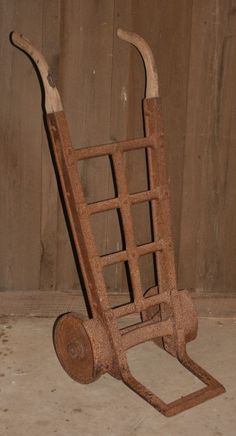 ANTIQUE IRON WHEEL HAND TRUCK DOLLY FEED BAG CART STEAMPUNK DECOR COFFEE TABLE #Unbranded