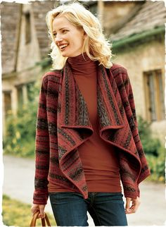 Our chic, cozy double-faced knit jacket is patterned in traditional Andean manta stripes in warm shades of terra cotta, garnet, maple and pa...