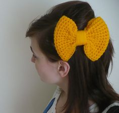 Big Yellow Bow Crochet Hair Accessory Clip and Bow Tie Pin
