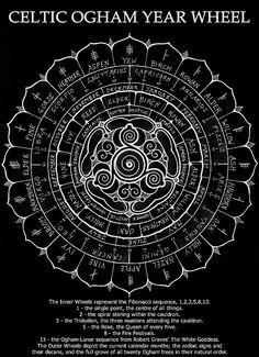 Celtic Ogham Year Wheel.Circular Wheel Chart of the Year, upon which are the Zodiac Signs and Calendar Months, showing their relationship with the twenty trees of the Druidic/Ogham Alphabet.