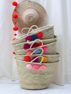 Mixed Pom Pom Basket