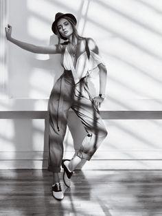 Bridget Hall in Menswear-Inspired Fashion