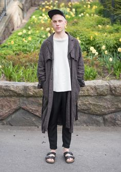 """I'm wearing a linen coat, slacks and my Birkenstocks. Anything can inspire me. Today I just wanted to wear my sandals. My outfits need to feel and look easy and effortless."""