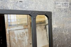 Miroir d atelier géant support métal XXL style factory Chehoma
