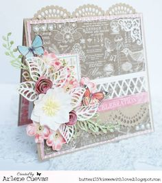 From our Design Team! Card by Arlene Cuevas featuring these Dies - Diamond Lattice Border, Stitched Ribbons,  Open Leaf flourish, Scallop Border, Rolled Rose Large, Filigree Corner, Shabby Flourish- April Club Kit :-) Shop for our products here - shop.lalalandcrafts.com  More Design Team inspiration here - http://lalalandcrafts.blogspot.ie/2015/05/inspiration-wednesday-fussy-cutting.html
