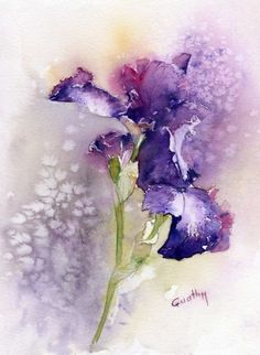 Purple Iris flowers, watercolor painting