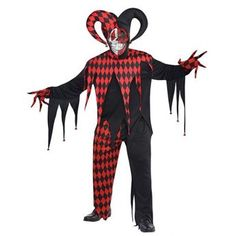 Item Number: Krazed Jester Costume with Axe Specifications Red and black Wacky fancy dress Shirt with jagged edges Creepy details Jingle bells on the sleeves Tri-horn hat Includes axe Dress from head to toe Sizes: XL - up to Chest Halloween Fancy Dress, Adult Halloween, Halloween Party, Halloween Costumes, Evil Jester, Jester Costume, Scary Clowns, Joker, Adult Costumes