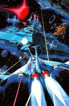 Gradius official arcade art (Konami, Wish I could find a poster of this, it looks absolutely superb!