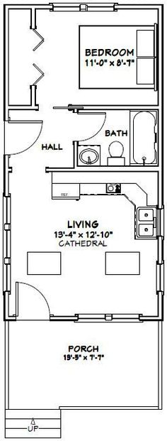 14x28 Tiny House -- 391 sq ft -- PDF house plans, garage plans, & shed plans.