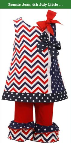 Bonnie Jean 4th July Little Girls Red Chevron Patriotic Pant Set (2T). Stars and chevron Ruffle Leggings simply Adorable! Toddler girls tunic and red legging set features navy and white, grosgrain bows and ruffle leggings. Great for your 4th of July Holiday. Mashine Wash Cold Gentle Cycle. Imported. Made in Sri Lanka.